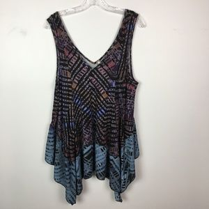 Free People dip die swing tunic tank top M